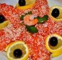 Салат с красной соленой рыбой