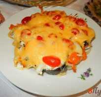 Кета с сыром и с помидорами и