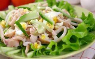 Салат с кальмарами и рыбой