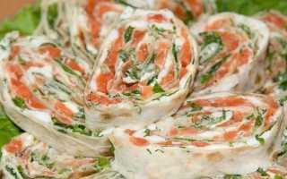 Лаваш с красной рыбой и творожным сыром